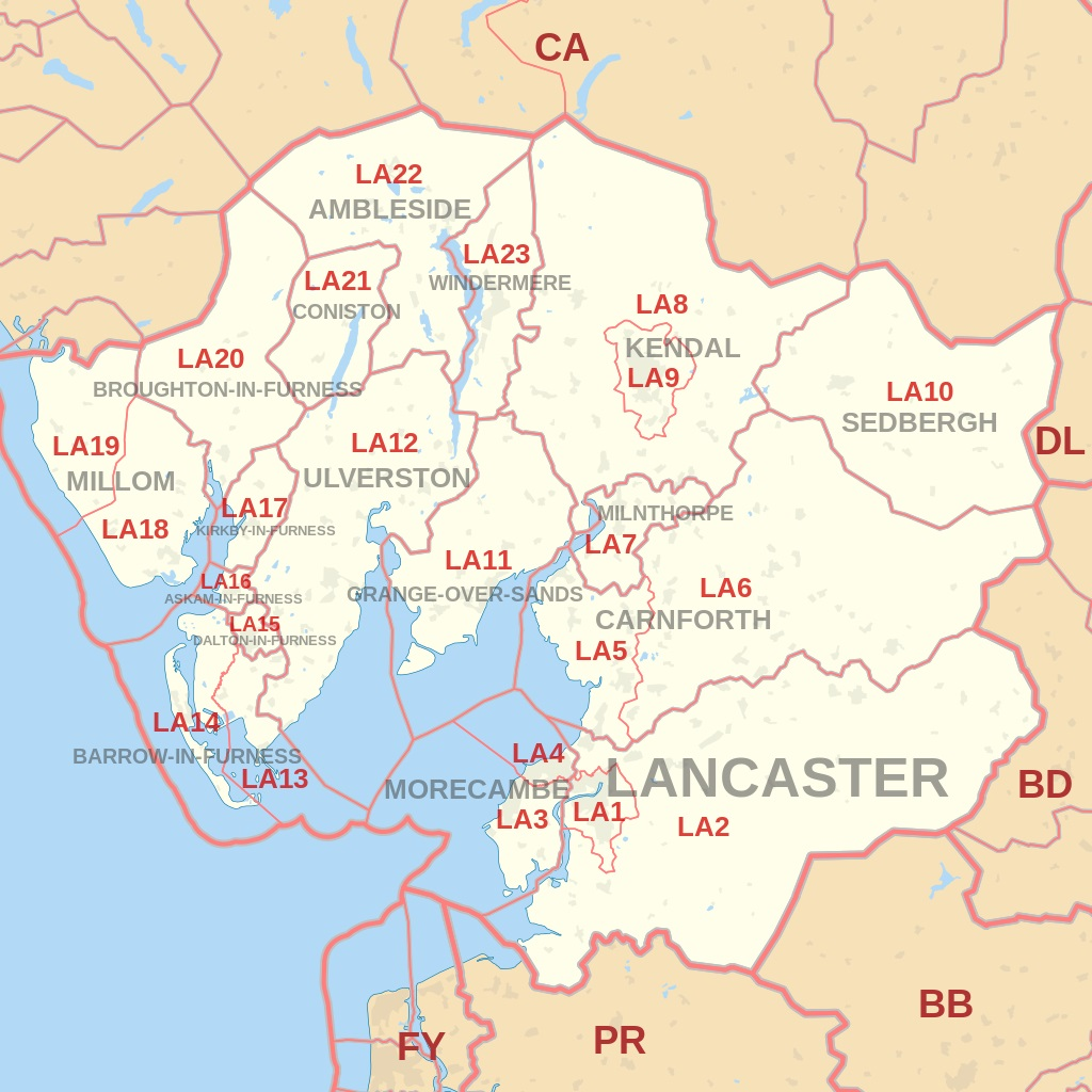 Lancaster and LA postcode area map